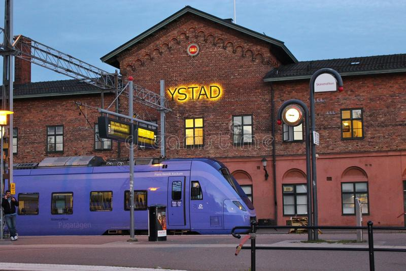 In Ystad, South Sweden, Scandinavia, Europe. A train is waiting at the railway station in evening light. Photo taken in July 2015 royalty free stock image