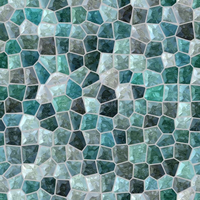 Ytbehandla golvet marmorerar sömlös bakgrund för mosaiken med grå grout - kritisera blå grön turkosfärg för krickan royaltyfri illustrationer