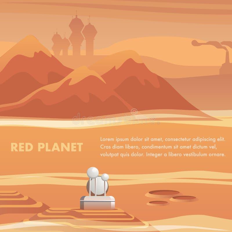 Ytbehandlar den satellit- stationen för illustrationen den röda planeten vektor illustrationer