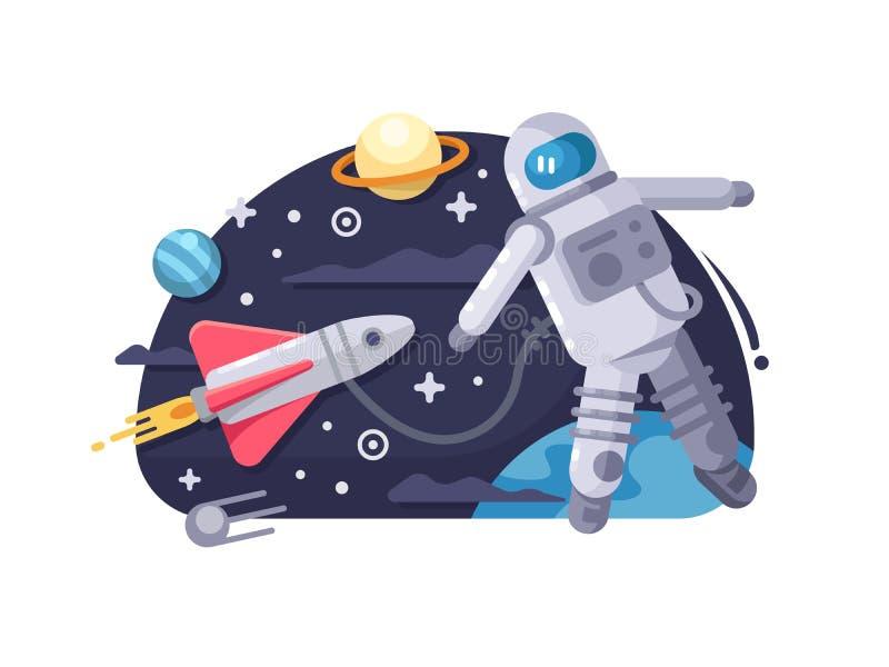 ytterkant avstånd för astronaut royaltyfri illustrationer