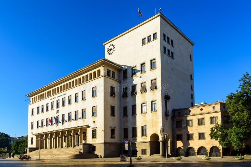 Yttersida av bulgarNational Bank byggnad i morgonen arkivbild