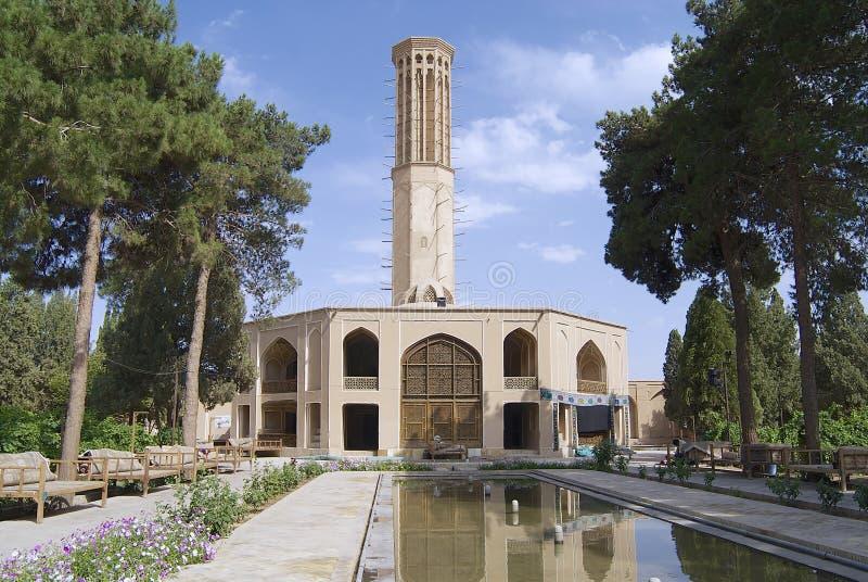 Yttersida av den Dowlatabad byggnaden i Yazd, Iran arkivbild
