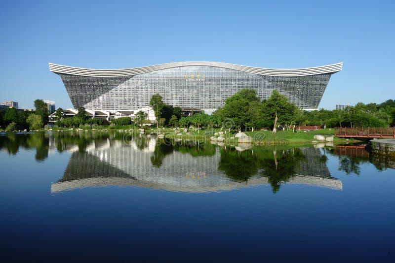 Yttersida av New Century den globala mitten, Chengdu, Sichuan, Kina fotografering för bildbyråer