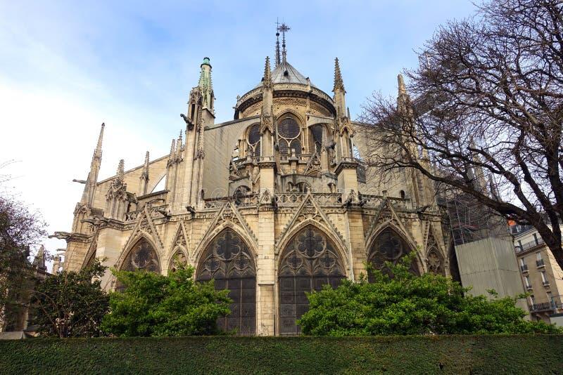 Yttersida av Notre Dame Cathedral Back View During renovering arkivbild