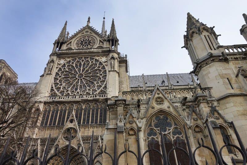 Yttersida av Notre Dame Cathedral Side View arkivbild