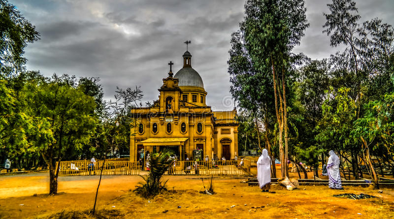 Yttersida av Ras Makkonen Selassie Church, Harar, Etiopien fotografering för bildbyråer