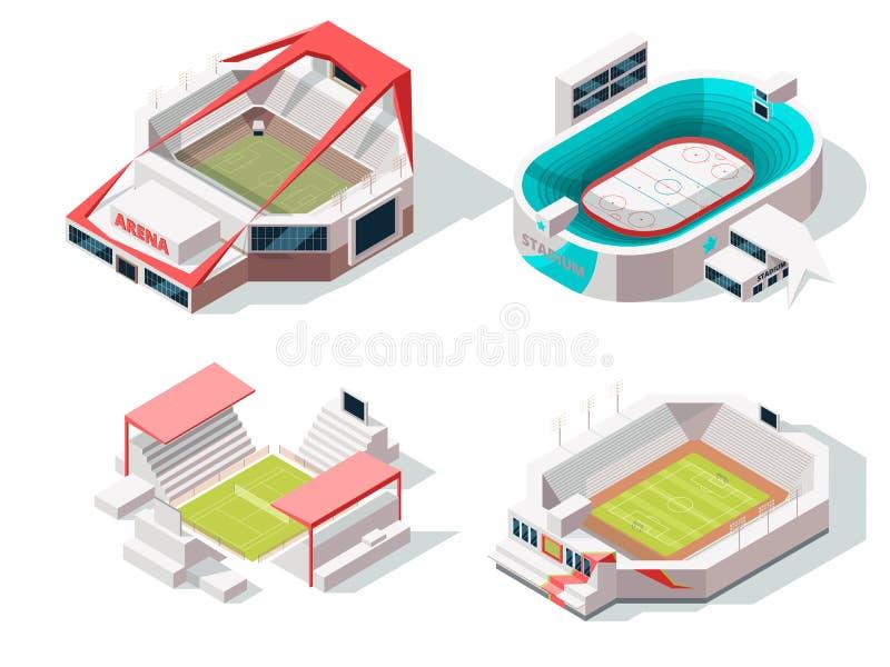 Yttersida av stadionbyggnader hockey, fotboll och tennis Isometriska bilder royaltyfri illustrationer