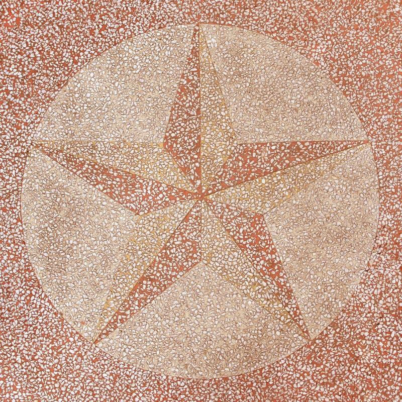 Yttersida av terrazzogolvet dekoreras med stjärnan royaltyfri fotografi