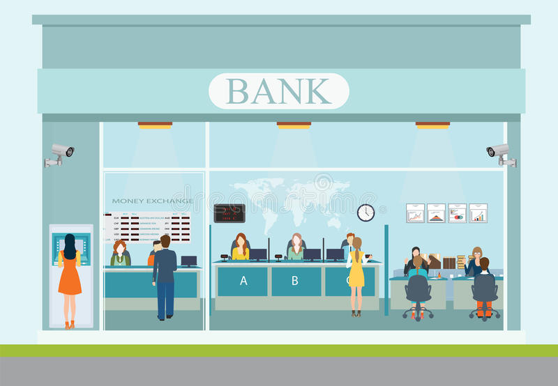 Yttersida för bankbyggnad och bankinre stock illustrationer