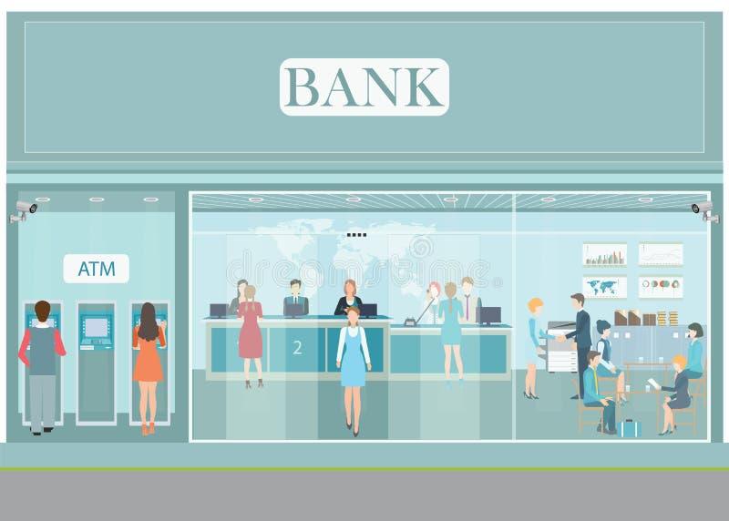 Yttersida för bankbyggnad och inre räknareskrivbord arkivbilder