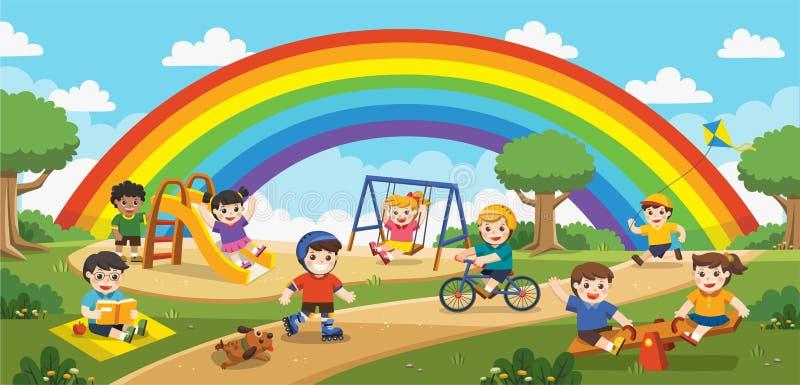 Yttersida för barnlek med regnbågebakgrund vektor illustrationer