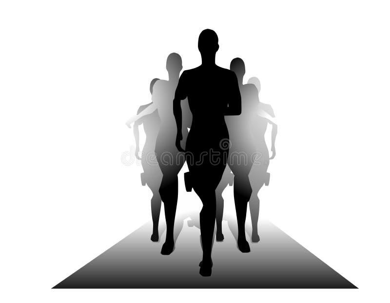 yttersida för silhouettes för gruppfolk running stock illustrationer