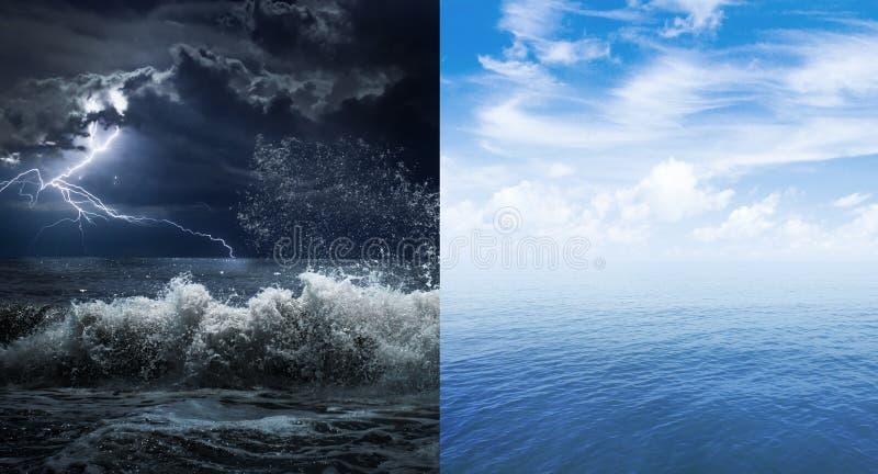 Yttersida för stormigt och lugna hav eller hav arkivfoto