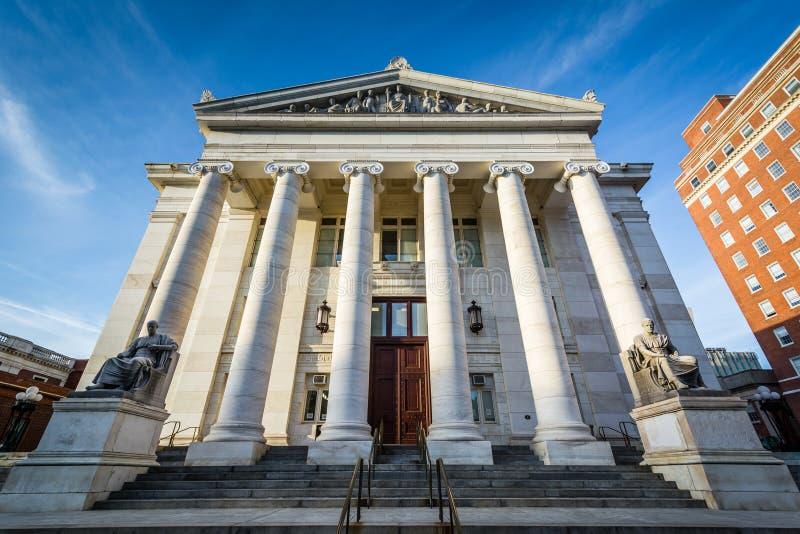 Yttersidan av New Haven den ståndsmässiga domstolsbyggnaden, i i stadens centrum nytt royaltyfri fotografi