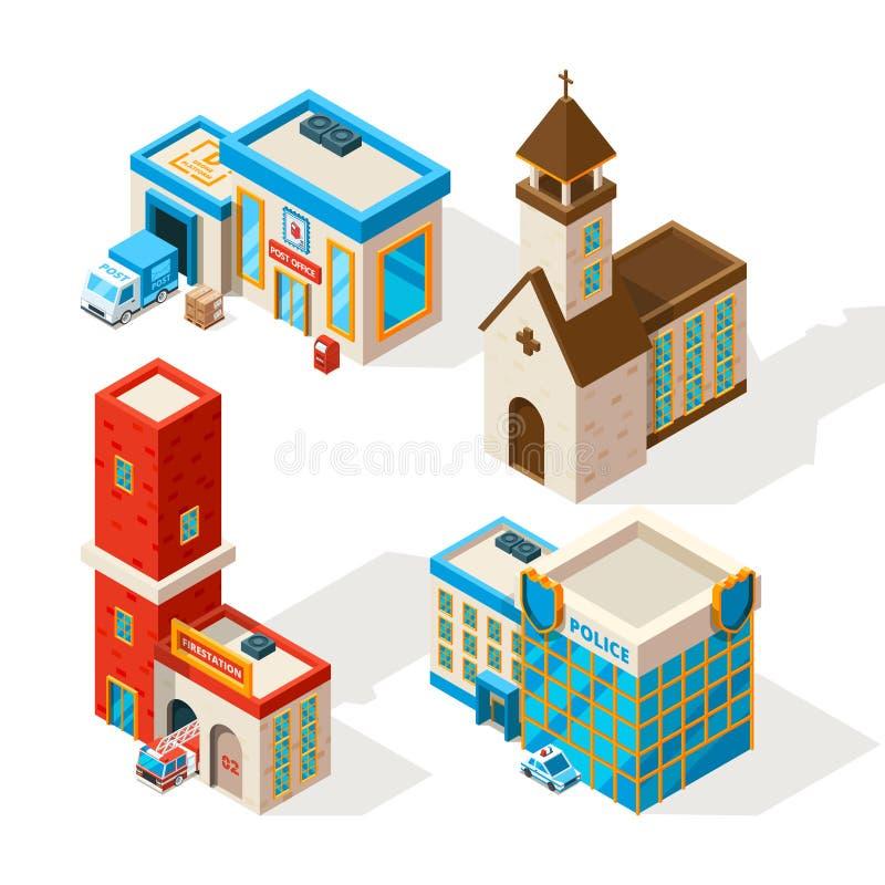 Yttersidor av kommunala byggnader Bilder för vektor 3d stock illustrationer