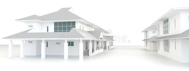 yttre design för bostads- arkitektur för gods 3D vektor illustrationer