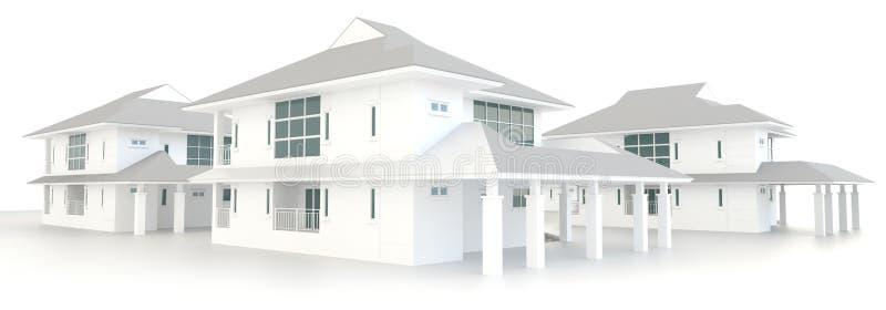 yttre design för bostads- arkitektur för gods 3D royaltyfri illustrationer