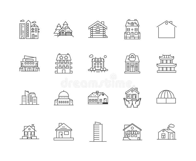 Yttre linje symboler, tecken, vektoruppsättning, översiktsillustrationbegrepp för hus royaltyfri illustrationer