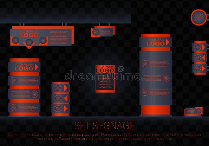 Yttre och inre signageconcep vektor illustrationer