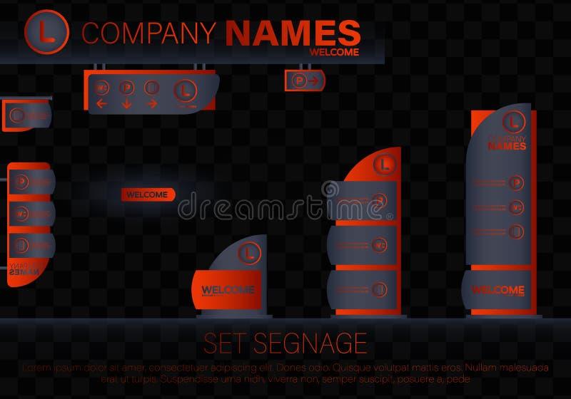 Yttre och inre signageconcep stock illustrationer