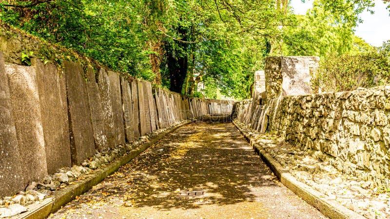 Yttre passage av kyrkogårdabbotskloster med gravstenar som vilar på väggarna i byn av Athlone royaltyfri foto