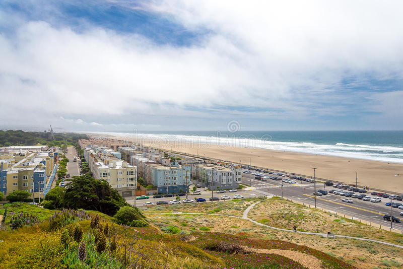 Yttre richmond, stor huvudväg, havstrand, San Francisco, Calif royaltyfri bild