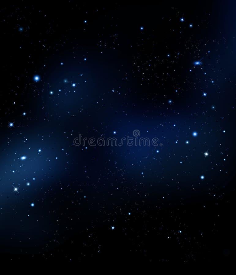 Yttre rymd för himmel för stjärnklar natt djup, fantasibakgrund stock illustrationer