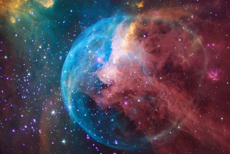 Yttre rymdkonst Nebulas, galaxer och ljusa stjärnor i härlig sammansättning arkivbild