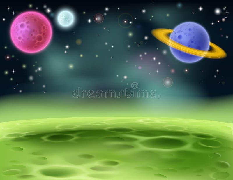 Yttre rymdtecknad filmbakgrund stock illustrationer
