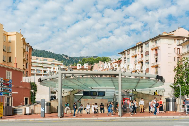 Yttre sikt av den Gare de Monaco stationen arkivbild