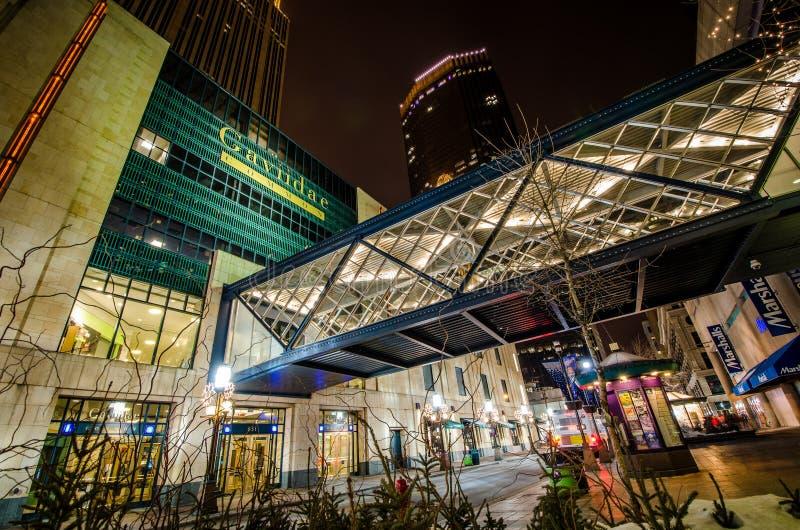 Yttre sikt av den Gaviidae allmänningen, en i stadens centrum Minneapolis shoppinggalleria med skyway tillträde som tas royaltyfri foto