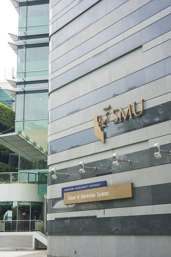 Yttre sikt av SMU, det Singapore ledninguniversitetet royaltyfria foton