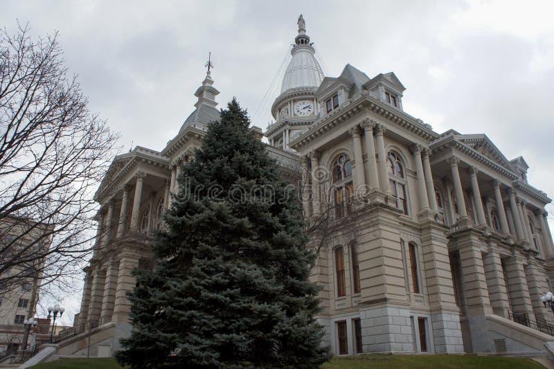 Yttre sikt för eftermiddag av den Tippecanoe County domstolsbyggnaden arkivfoton
