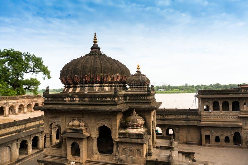 Yttre skott av det Ahilya fortet Maheshwar royaltyfria foton