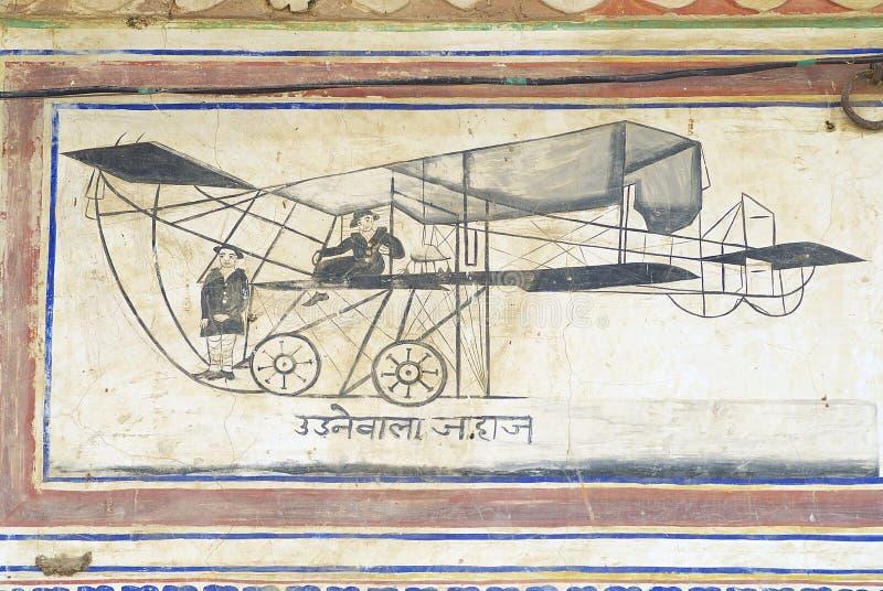 Yttre vägg som smärtar detaljen av havelien i Mandawa, Indien fotografering för bildbyråer