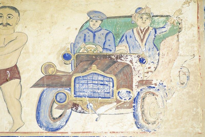 Yttre vägg som smärtar detaljen av havelien i Mandawa, Indien arkivbild