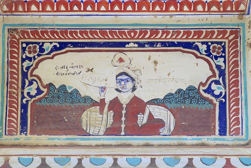 Yttre vägg som smärtar detaljen av havelien, Mandawa, Indien arkivfoton