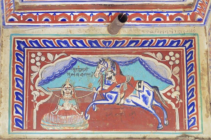 Yttre vägg som smärtar detaljen av havelien, Mandawa, Indien royaltyfria bilder