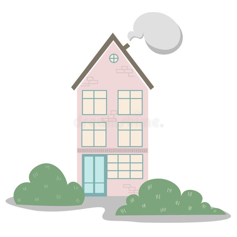 Yttre vektorillustration för hus stock illustrationer
