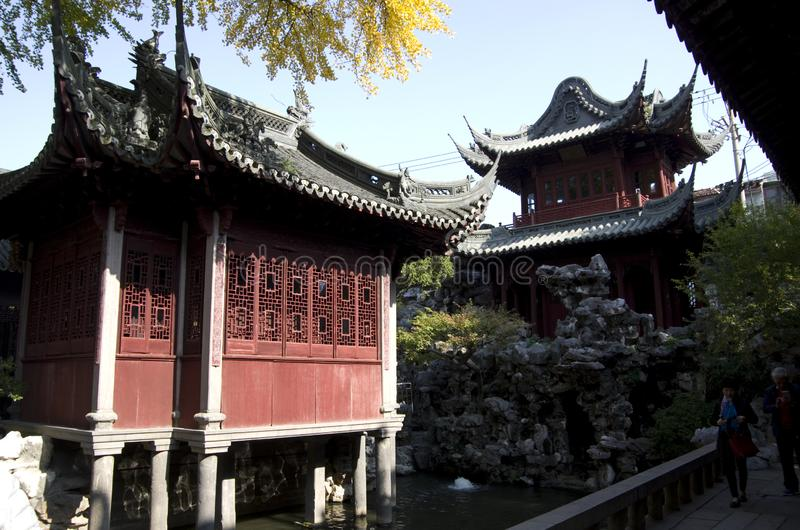 Yu Garden Shanghai Yuyuan. Yu Garden or Yuyuan Garden is an extensive Chinese garden located beside the City God Temple in the northeast of the Old City of stock images