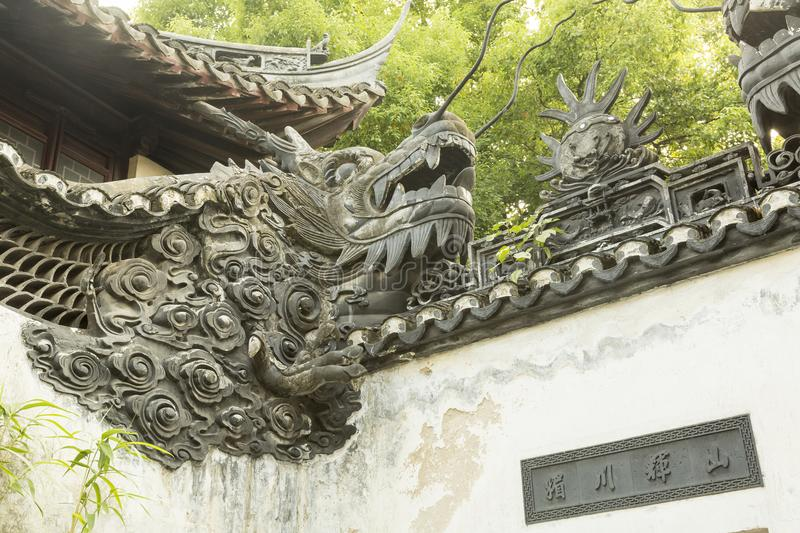 Detail of the wall in Yu garden in Shanghai, China stock photography