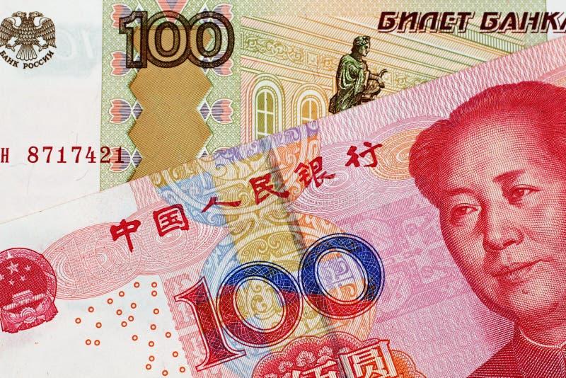 Yuan Bank Note With 100 för kines 100 sedel för rysk rubel royaltyfri fotografi