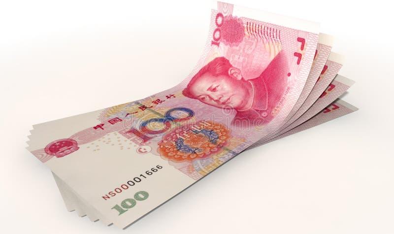 Yuan Bank Notes Spread foto de archivo libre de regalías