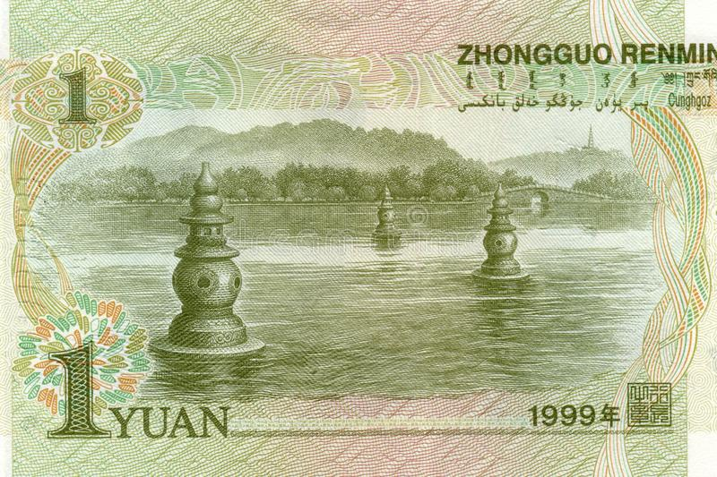 1 yuan 1999 banknote from China. Fragment. River landscape in the Changyang gorge, Lake Xihu. High resolution photo royalty free stock images