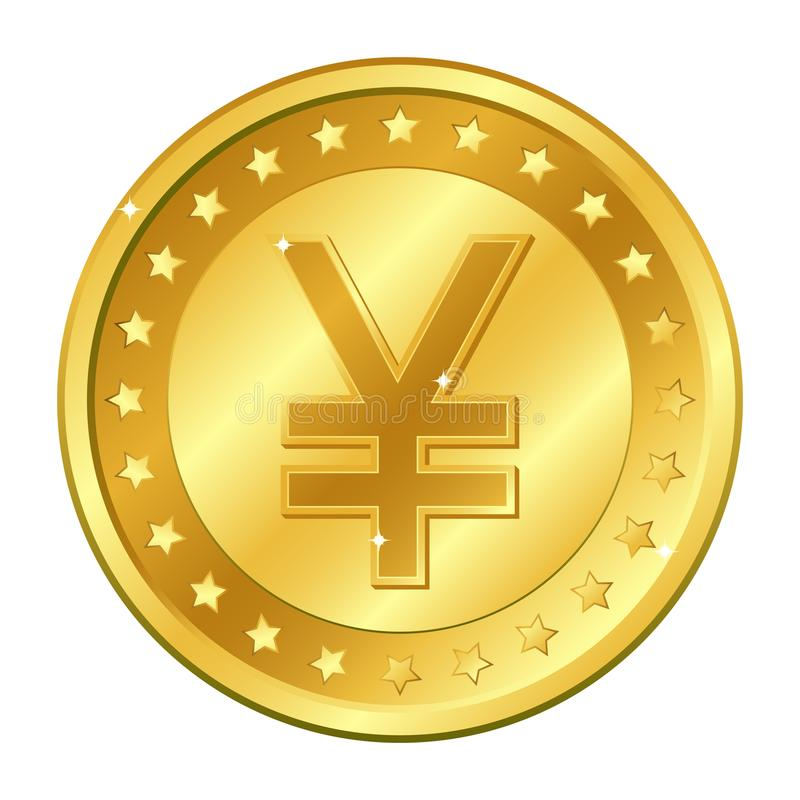Yuan and Yen currency gold coin with stars. Vector illustration isolated on white background. Editable elements and glare. vector illustration