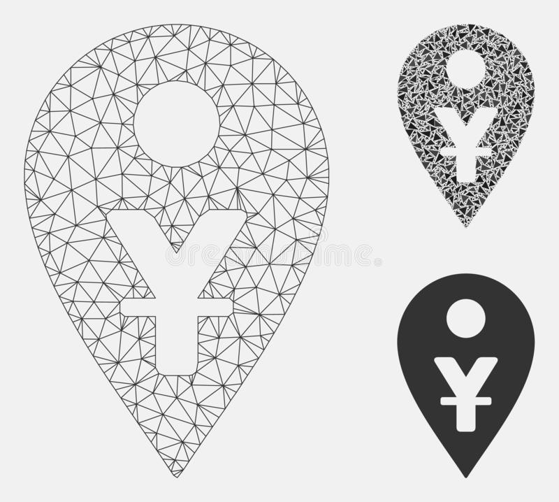 Yuan Map Marker Vector Mesh Network Model and Triangle Mosaic Icon. Mesh yuan map marker model with triangle mosaic icon. Wire frame polygonal mesh of yuan map stock illustration
