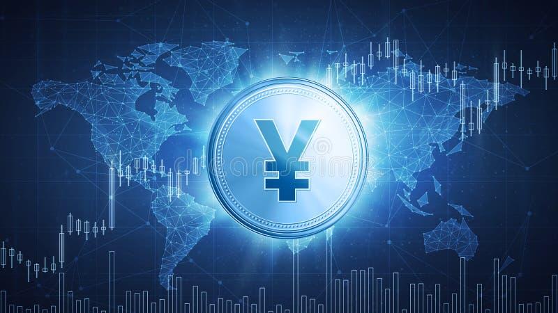 Yuan oder Yen prägen auf hud Hintergrund mit Stieraktienkurve vektor abbildung