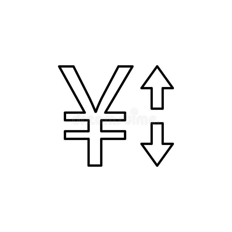 Yuan pil, upp, ner symbol Beståndsdel av finansillustrationen Tecknet och symbolsymbolen kan användas för rengöringsduken, logoen vektor illustrationer