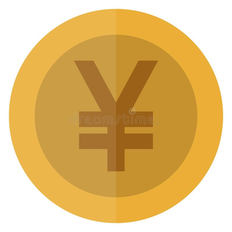 Yuan plano, moneda redonda de la moneda de los yenes China, Japón, Asia Moneda del casino, moneda de juego, ejemplo del vector ai stock de ilustración