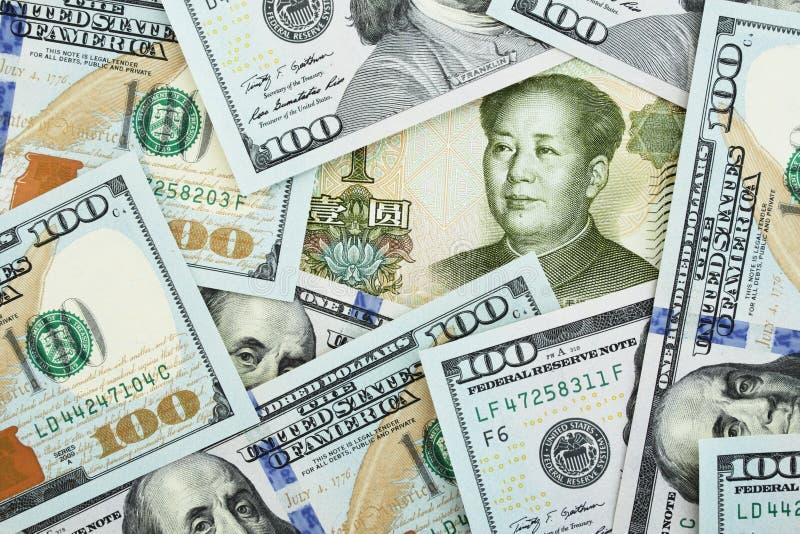 Yuan vs dollars. Yuan among one hundred dollars stock photography